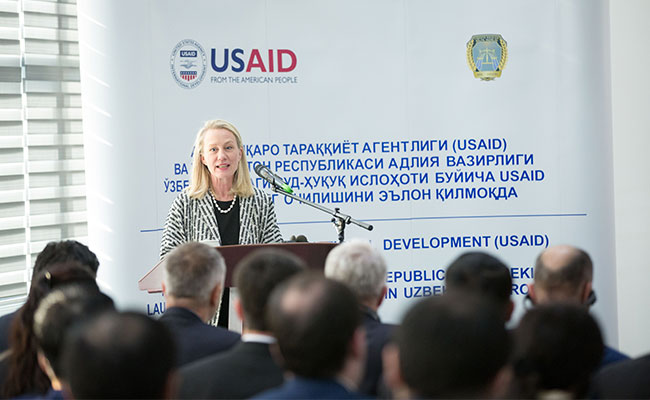 Ambassador Alice Wells speaking at the JRUP Launch Event with Tetra Tech on in February 2019