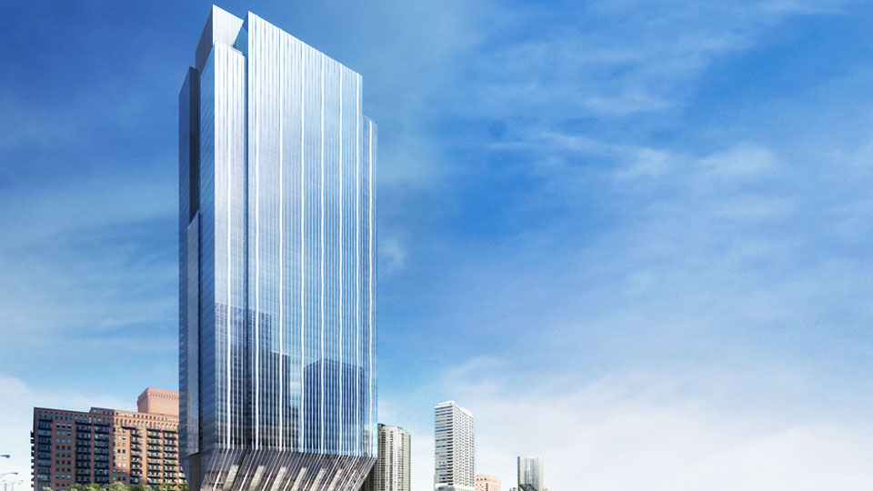 Exterior view of the Tetra Tech designed 150 North Riverside high performance building along the Chicago River