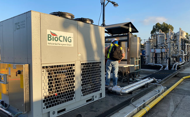 A chiller and bridge and BioCNG™ skid as part of Tetra Tech's work on the LACSD biogas to fuel project