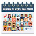 Ilustração representando a Tetra Tech mantendo-se segura todos os dias com ícones de funcionários em cada dia de um cale