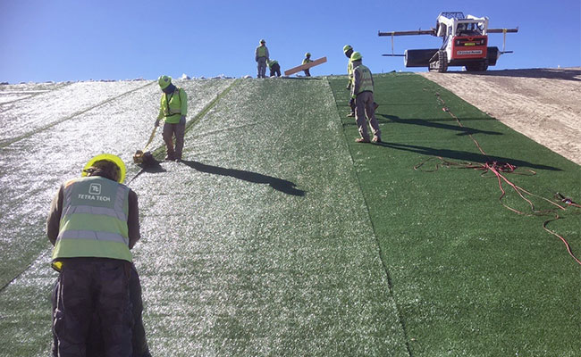 Tetra Tech installed the turf around the entire 2.4 mile perimeter