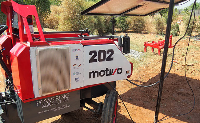Powering Agriculture Innovator Motivo's HARVEST tractor hybrid tractor during field testing in India.