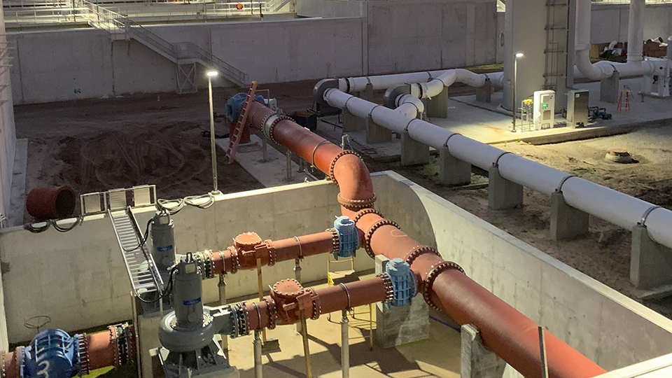 Flow equalization basin pump station at the Hillsborough County Northwest Regional Water Reclamation Facility in Florida