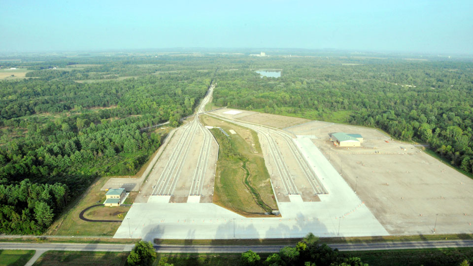 Aerial view of the Camp Atterbury railhead expansion