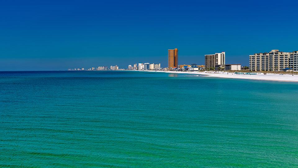 A view of Panama City Beach, Florida, along the coast.
