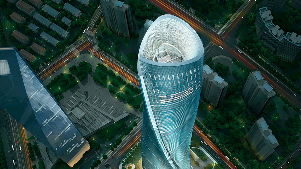 Shanghai Tower, rises 632 meters high
