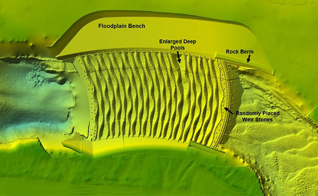 Tetra Tech prepared a detailed terrain image of the proposed fish passage design.