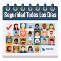 La ilustración representa a Tetra Tech como un entorno seguro todos los días con íconos de los empleados en cada día de