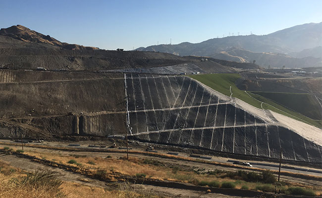 View of landfill capping work done at Sunshine Canyon Landfill by Tetra Tech