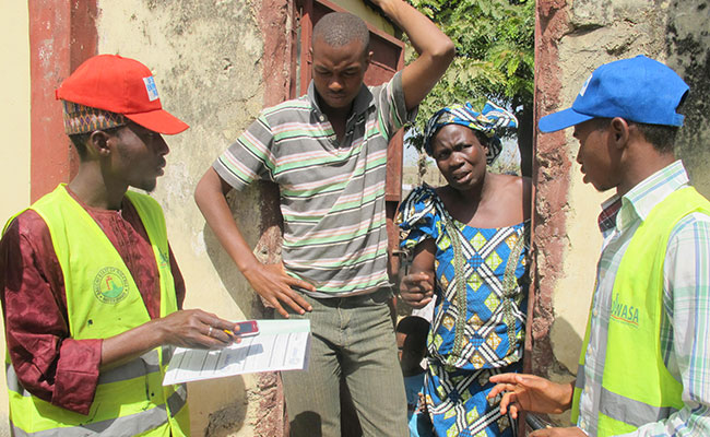 SUWASA project team communicate with local residents in Nigeria as part of designing the village's water pump