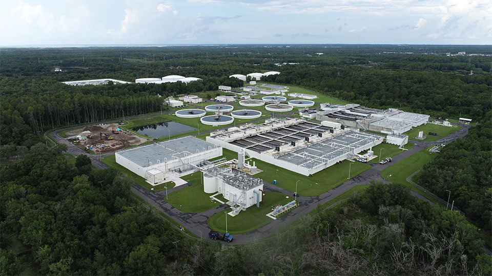 A completed, aerial view of the Hillsborough Country Northwest Regional Water Reclamation Facility Project in Florida.