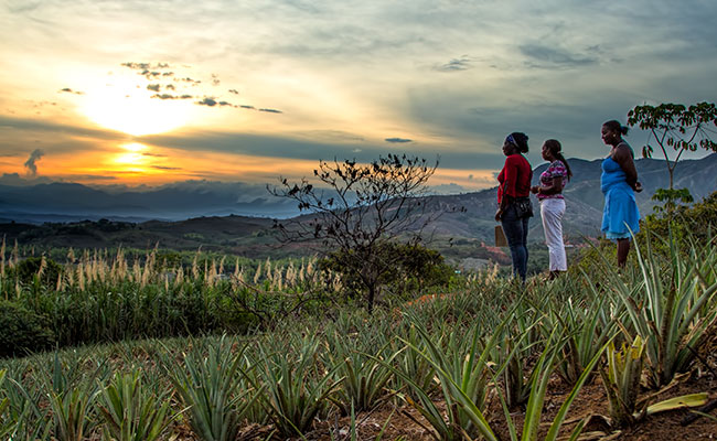 Women enjoy the sunset at a farm in Cauca