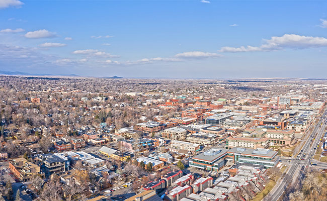 Aerial view of Boulder, Colorado, where Tetra Tech will assist with the Biogas Use Enhancement Project.
