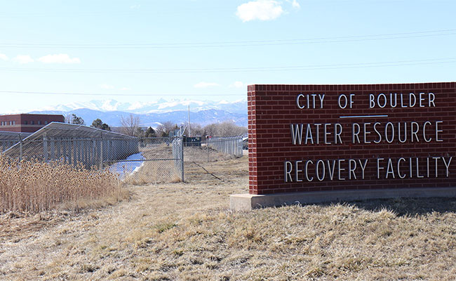 A view of the City of Boulder Water Resource Recovery Facility sign.