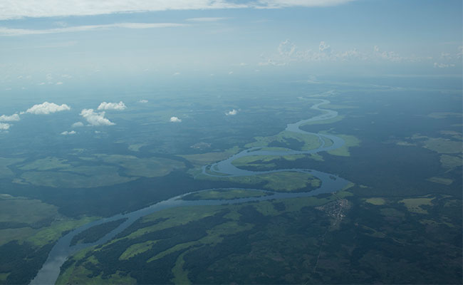 Aerial photo of the Congo Basin watershed and mosaic landscape.