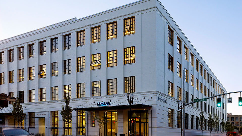 Tetra Tech's High Performance Buildings Group provided services for Vestas' headquarters in Portland, Oregon.