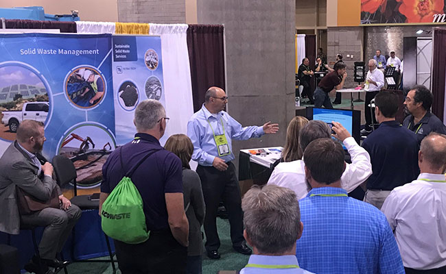 Tetra Tech's Drew Lent advocates for solar power on capped landfills to industry leaders at WASTECON 2019.